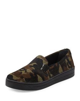 Prada Linea Rossa Camo-Print Calf Hair Skate Shoe, Militaire