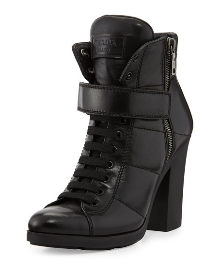 prada chunky lace up leather bootie. Black Bedroom Furniture Sets. Home Design Ideas