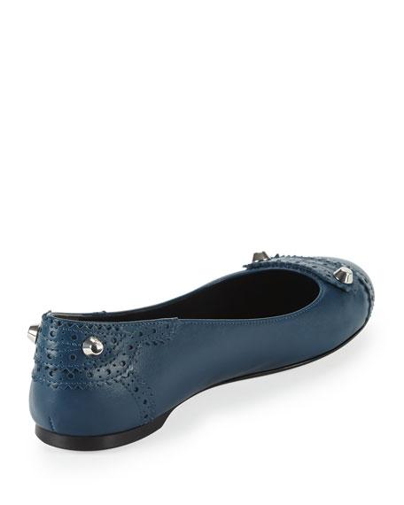 Arena Brogue Studded Ballerina Flat, Blue