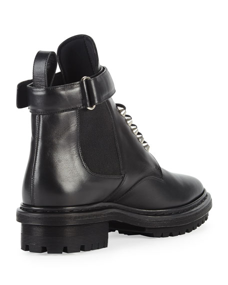 Leather Buckle-Strap Boot, Black