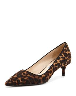 Prada Low-Heel Calf Hair Pump, Leopard