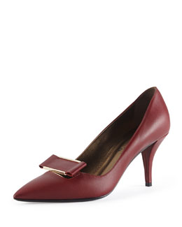 Lanvin Leather Point-Toe Buckle Pump, Burgundy