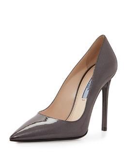 Patent Leather Point-Toe Pump, Brown