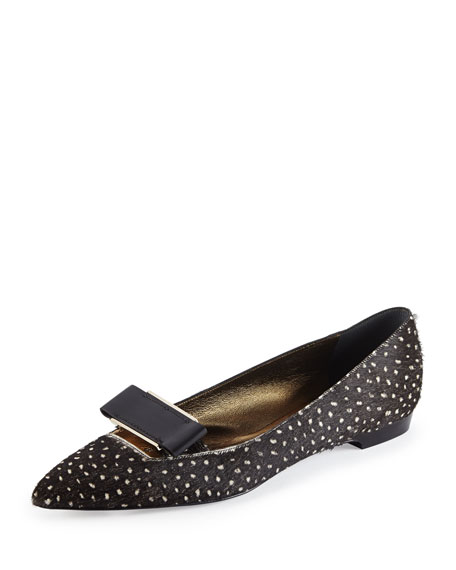 Spotted Calf Hair Bow-Buckle Flat