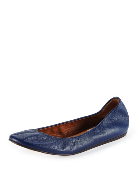 Scrunched Leather Ballerina Flat, Midnight Blue
