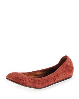 Croc-Embossed Scrunched Ballerina Flat, Burgundy