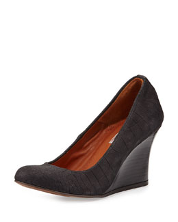 Croc-Embossed Ballerina Wedge Pump, Black