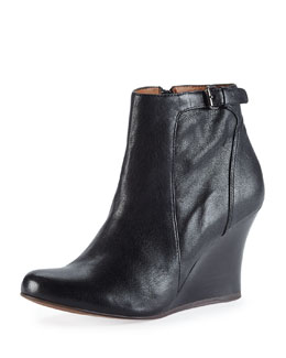 Lanvin Leather Wedge Ankle Boot, Black
