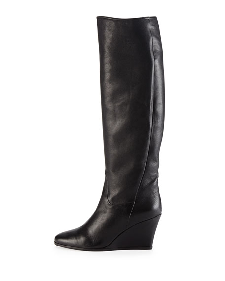 Leather Wedge Knee Boot, Black