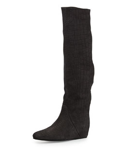 Croc-Embossed Knee-High Wedge Boot, Gray