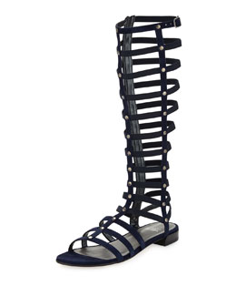 Stuart Weitzman Gladiator Tall Suede Sandal, Nice Blue (Made to Order)