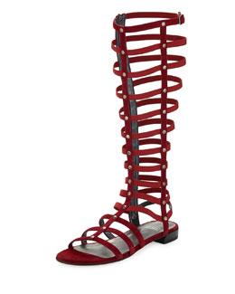 Stuart Weitzman Gladiator Tall Suede Sandal, Scarlet