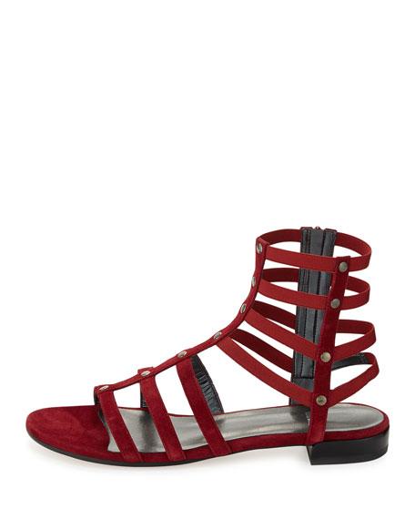 Caesar Suede Gladiator Sandal, Scarlet