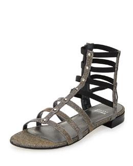 Stuart Weitzman Caesar Glitter Fabric Gladiator Sandal, Pyrite