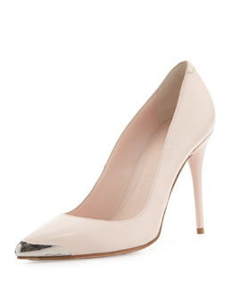 Alexander McQueen Pointed Metal-Toe Leather Pump, Powder