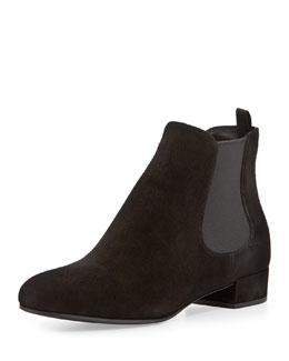 Suede Flat Chelsea Boot, Black