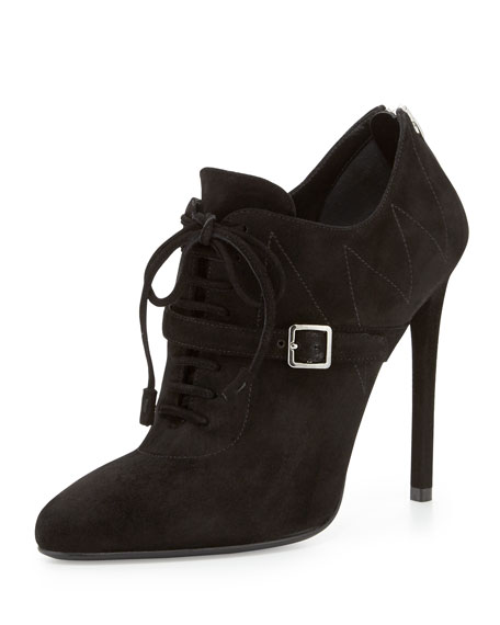 Topstitched Suede Lace-Up Bootie