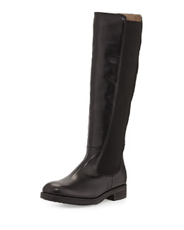 Alberto Fermani Lia Leather Stretch Knee Boot, Nero