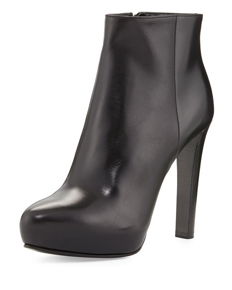 High-Heel Leather Ankle Boot