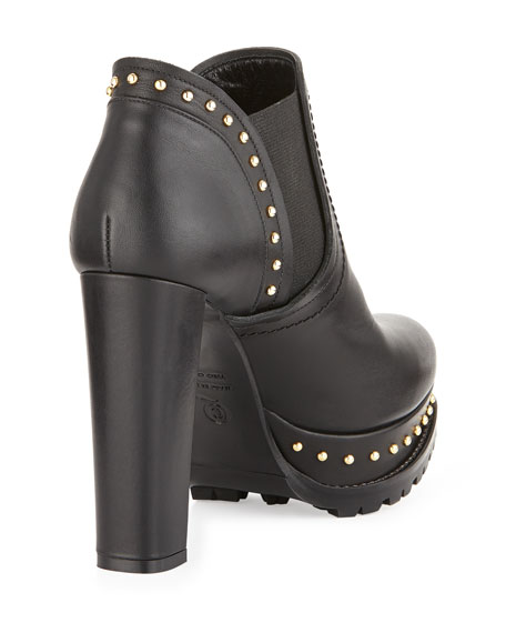 Studded Chelsea Ankle Bootie, Black
