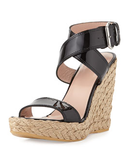Stuart Weitzman Xray Patent Jute Wedge, Black (Made to Order)