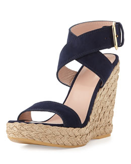 Stuart Weitzman Xray Suede Jute Wedge, Nice Blue (Made to Order)