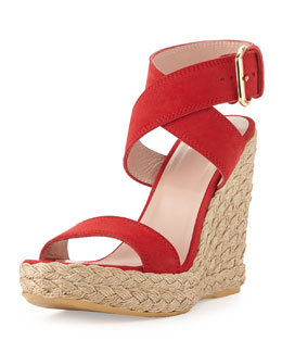 Stuart Weitzman Xray Suede Jute Wedge, Red (Made to Order)