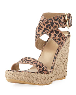 Stuart Weitzman Xray Leopard-Print Jute Wedge (Made to Order)