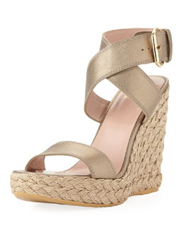 Stuart Weitzman Xray Metallic Leather Jute Wedge, Ale (Made to Order)