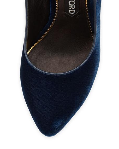 Velvet Slingback Ankle-Strap Pump, Blue/Black