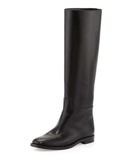 Zip-Back Flat Leather Knee Boot, Black