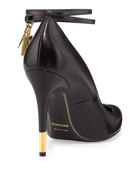 Padlock Ankle-Wrap Leather Pump, Black