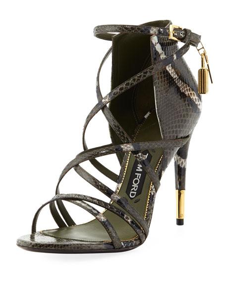 b3f70b3652 TOM FORD Padlock Ankle-Wrap Snake Sandal, Military
