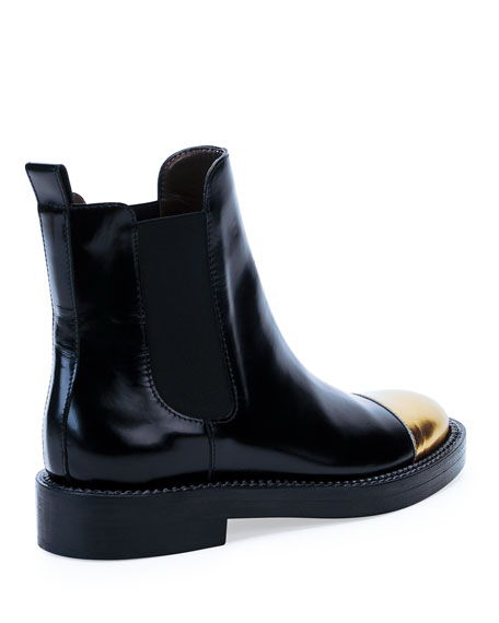 Metallic Cap-Toe Ankle Boot