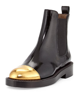 Marni Metallic Cap-Toe Ankle Boot