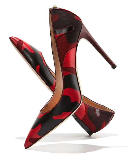 Patchwork Camo Pointed Pump, Wine