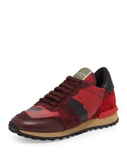 Valentino Rockstud Camo-Print Sneaker, Red