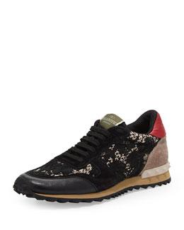 Valentino Rockstud Camo-Lace Sneaker, Black