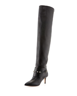Valentino Rockstud Low-Heel Over-The-Knee Boot, Black