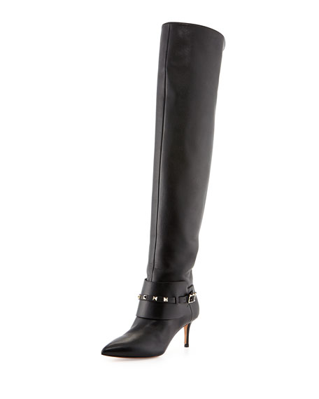 75f60debe53 Rockstud Low-Heel Over-The-Knee Boot Black
