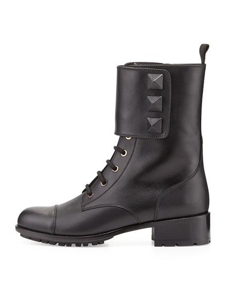 Rockstud Big-Stud Combat Boot, Black