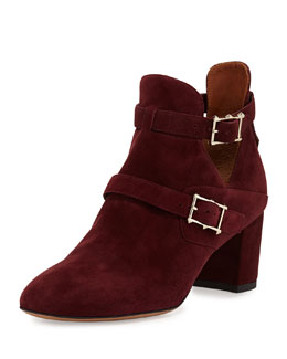 Valentino Suede Double-Buckle Ankle Boot, Rubin
