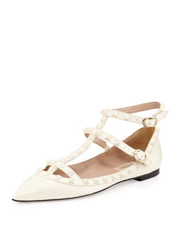 Valentino Rockstud Cage Patent Ballerina Flat, Ivory