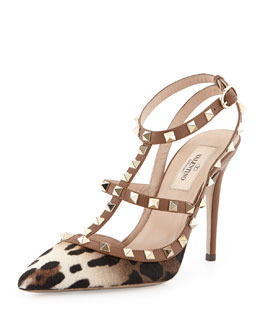 Valentino Rockstud Calf Hair Slingback Sandal, Leopard