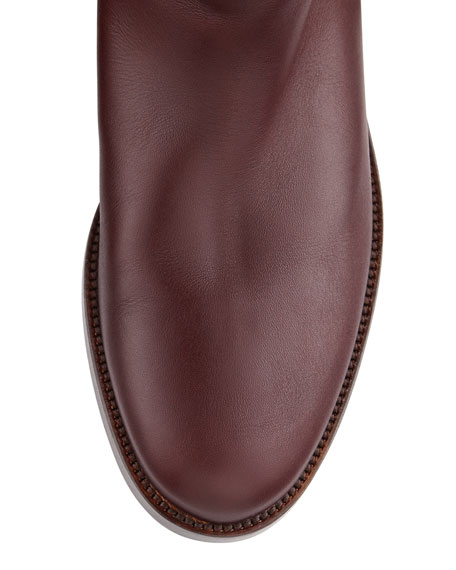 Ombre Leather Knee Boot, Wine