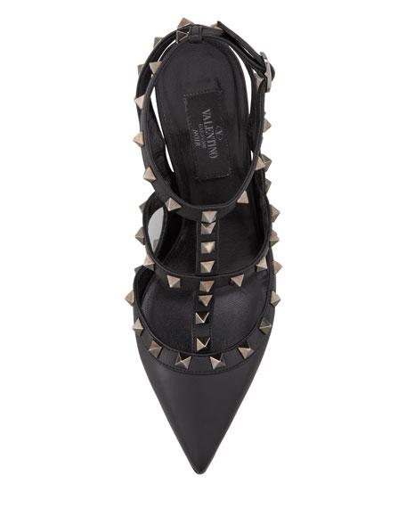 Noir Rockstud Leather Slingback, Black