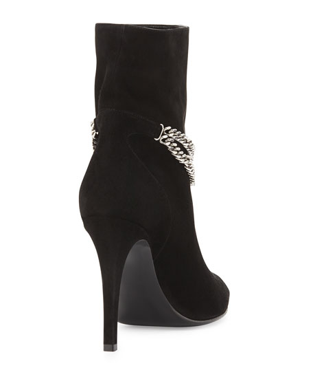 Suede Chain-Strap Ankle Boot