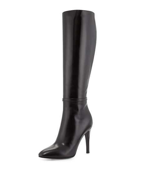 High-Heel Leather Knee Boot