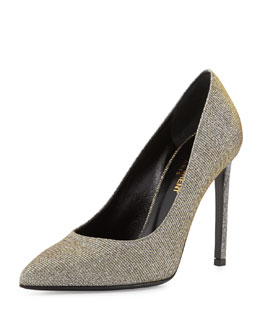 Glittery Lamé Pointed-Toe Pump, Oro