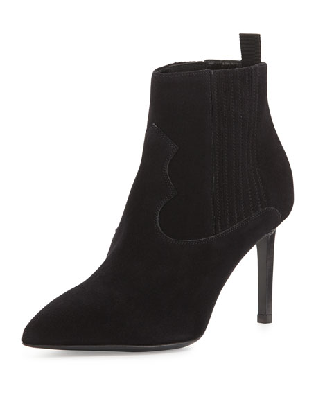 Suede Elastic-Side Pointed Bootie